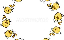 Cute round frame with birds set
