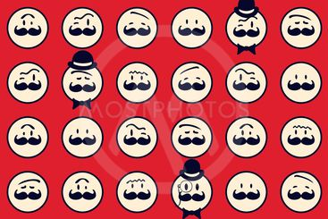 Seamless retro pattern. Texture with funny faces.Seamless...