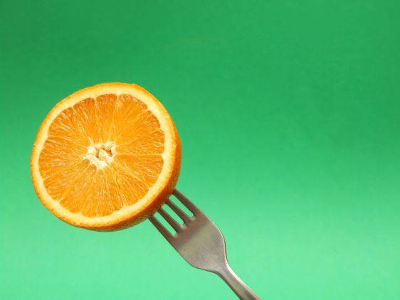 orange on fork