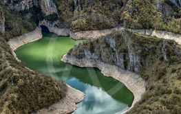 Clear and clean river Uvac in Serbia with meanders
