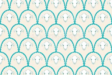 seamless pattern with cute sheep