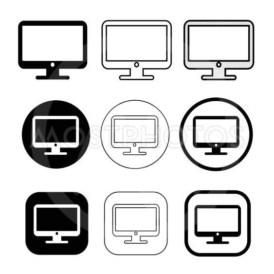 Simple Computer monitor icon sign design