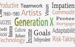 Generation X word cloud concept with great terms such as...