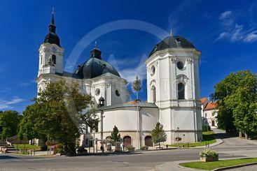 Beautiful old church in Krtiny. Czech Republic. (Names...