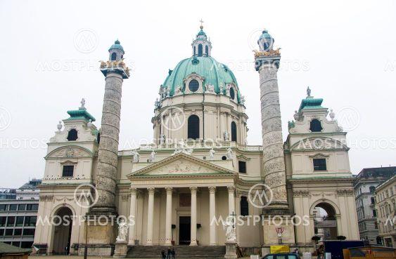 St. Charles Church - Karlskirche, Karlsplatz in Vienna,...