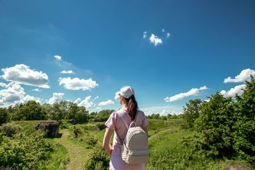 Background, nature, Girl with a backpack on the...