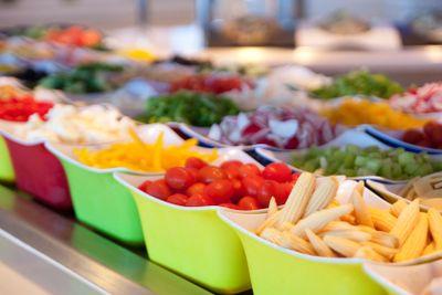Baby Corn and Fresh Vegetables on Salad Bar