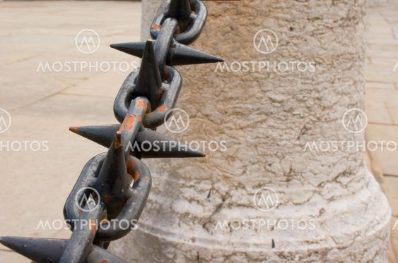 Rusted spiked railings