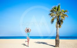 summer and travel concept - young beautiful woman in...