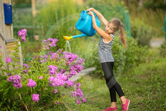 Little girl watering the flowers near the country house.