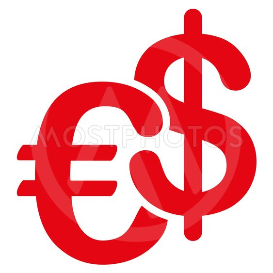 Euro and Dollar Currency Flat Glyph Icon