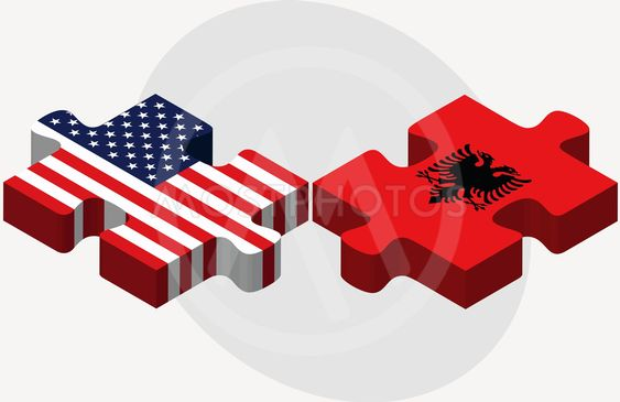 USA and Albania Flags in puzzle