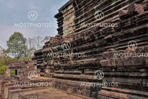 Fragment of an ancient temple in Angkor.