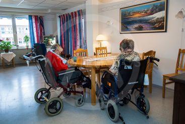 Åldringar på ett äldreboende, Upplands Väsby, Sverige.