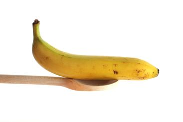 Banana on a wooden spoon
