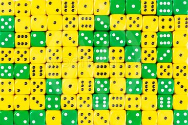 Background of 140 random ordered green and yellow dices
