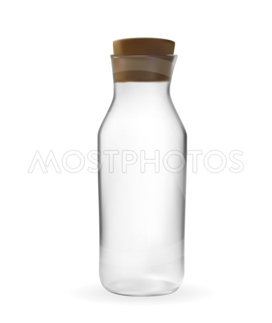 Realistic 3D model of Glass bottle with lid. Vector...