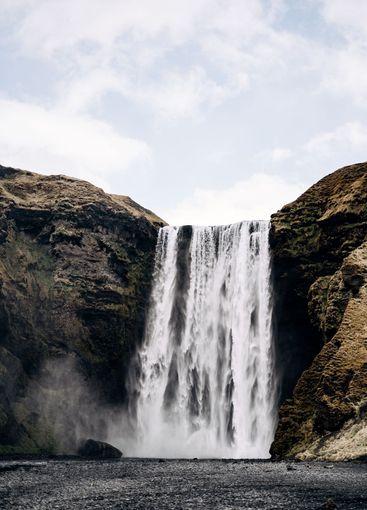 Skogafoss waterfall in the south of Iceland, on the...
