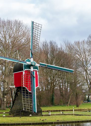 Historic windmiil in Poelgeest Leiden in the Netherlands