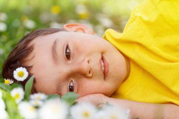 Child kid spring flower meadow flowers little boy day...