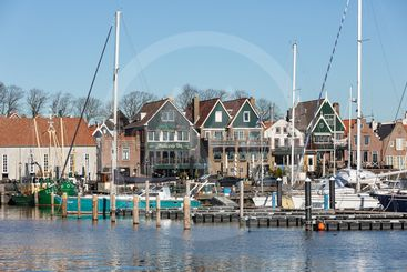 Houses and harbor historic fishing village Urk in The...