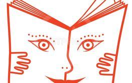 Vektor, illustration i abstrakt form av bok med ansikte.