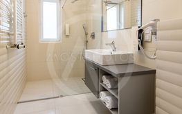 The luxury bathroom interior design and marble wall