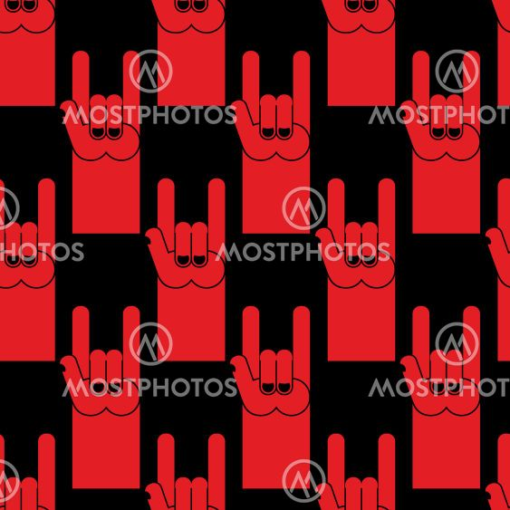Rock Hand Sign Red Seamless By Popaukropa Mostphotos