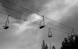 Black and White Ski Lift
