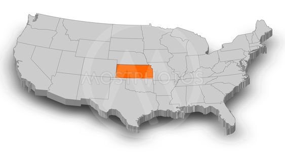 Map - United States, Kansas - 3D-Illustration