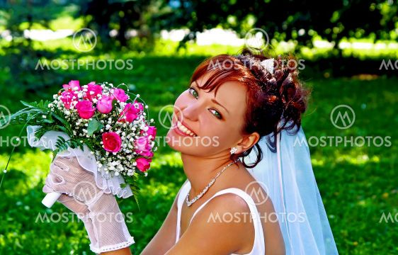 Bride with the bunch of flowers