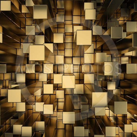 gold squares extruded background