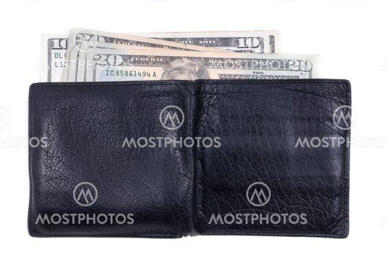 Musta lompakko alttiina amerikkalainen käteisellä