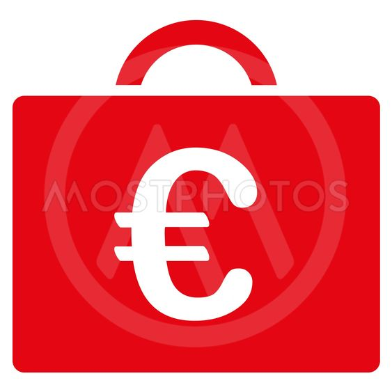 Euro Bookkeeping Case Flat Glyph Icon