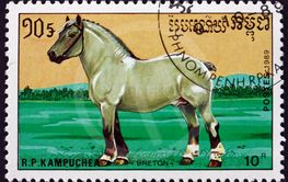 Postage stamp Cambodia 1989 breton, a breed of draft horse