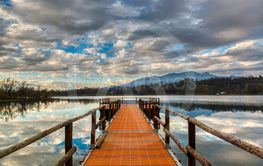 jetty on the lake of Varese