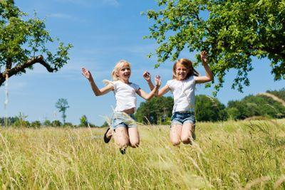 Happy children in a meadow