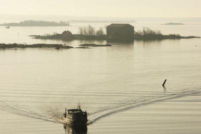 Rippled water in silverish hazy sunlight