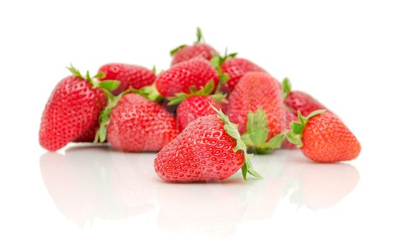 a bunch of strawberries on a white background