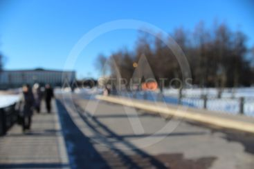 no focus,street, people, winter, sunny day, a group of...