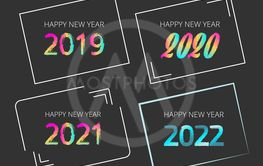 2019, 2020, 2021, 2022 new year signs - Vector