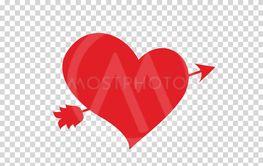 red vector heart pierced with arrow on clip art