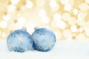 Christmas balls baubles gold golden stars background snow