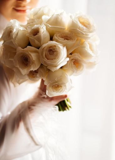 bouquet of white roses for the bride. Wedding