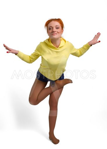woman stand on one leg in yoga pose Isolated