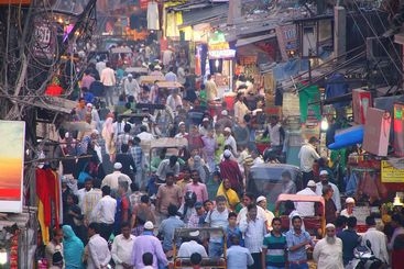 View of Chawri Bazar full of people in the evening from...