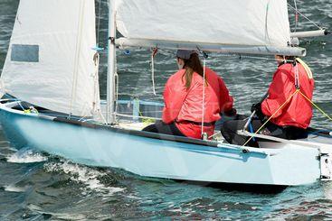 Children lake sailing.
