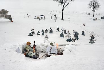 WW2 winter battle german and Red Army. Historical...