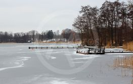 Winter Lake with Frozen Water and Snow