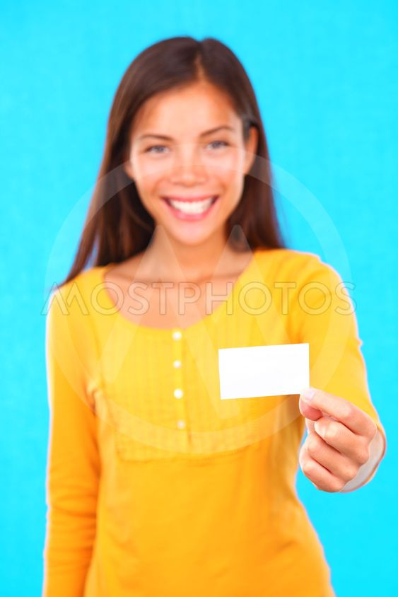 Woman holding visiting card